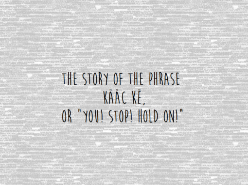 "The Story of the phrase, ""kaac ke,"" or ""You! Stop! Hold on!"""